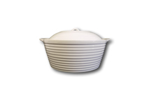 "image of White China Casserole Dish with Lid 9"" dia / 3.5"" deep"